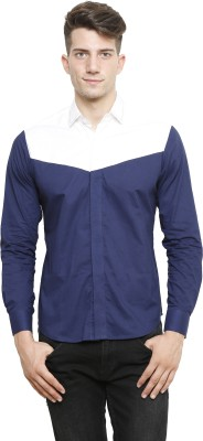 NFC Men's Solid Casual Blue, White Shirt