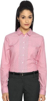 Van Heusen Women's Polka Print Formal Pink Shirt