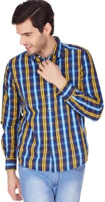 American Swan Men's Checkered Casual Blue Shirt