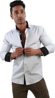 Just Differ Men's Printed Formal White Shirt