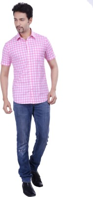 Validus Men's Checkered Formal Pink Shirt