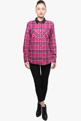 XnY Women's Striped Formal Pink Shirt