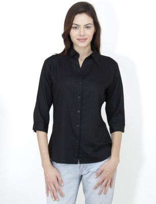 Mayra Women's Solid Casual Black Shirt