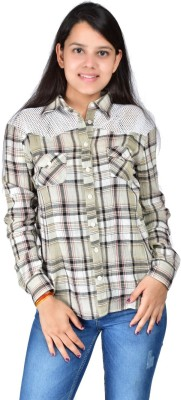 Palette Women's Checkered Casual Beige Shirt