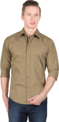 Tuscans Men's Solid Casual Beige Shirt