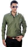 Aaduki Men's Striped Formal Green Shirt