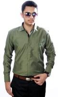 Aaduki Formal Shirts (Men's) - Aaduki Men's Striped Formal Green Shirt
