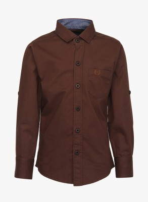 Mash Up Boy's Solid Casual Brown Shirt