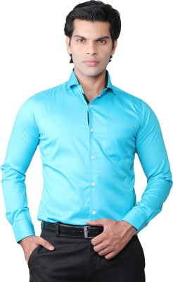 ROYALTY MILAN Men's Solid Casual Light Blue Shirt