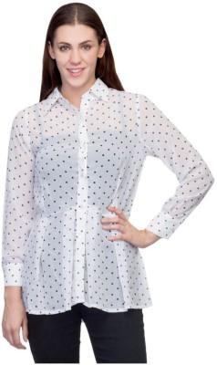 Tara Lifestyle Women's Polka Print Casual White Shirt