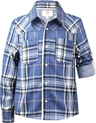 The Cranberry Club Boy's Checkered Casual Blue Shirt