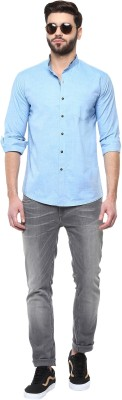 Cairon Men's Solid Casual Blue Shirt