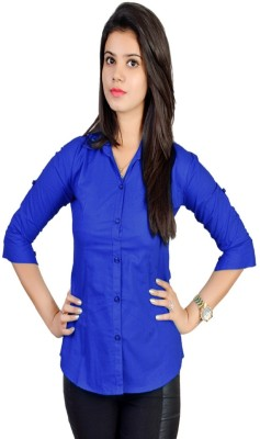 Jazzy Ben Women,s Solid Formal Blue Shirt