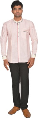 DoubleF Men's Solid Casual Pink Shirt