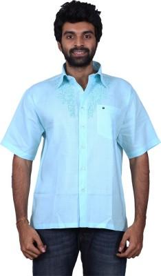 Karlsburg Men's Embroidered Casual Light Blue, Blue Shirt