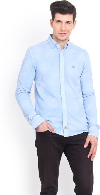 Smokestack Men's Solid Casual Blue Shirt