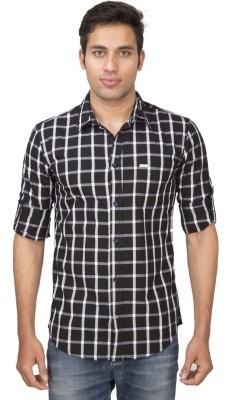 Truccer Basics Men's Checkered Casual Black Shirt