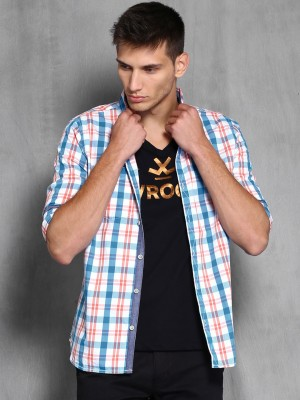 WROGN Men's Checkered Casual Blue, White Shirt