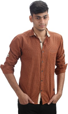 Fashion Bean Men's Checkered Casual Orange Shirt