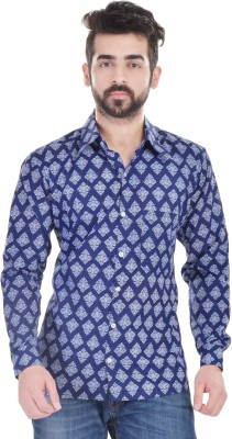 Nishiva Men's Printed Formal Blue Shirt