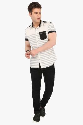 R&C Men's Self Design Casual Black Shirt