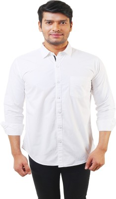 Lee Marc Men's Solid Casual White Shirt