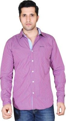 Denimize Men's Striped Casual Pink Shirt