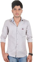 West Flax Formal Shirts (Men's) - West Flax Men's Solid Formal Grey Shirt