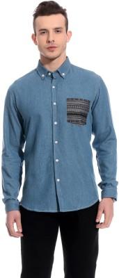 Bolt Men's Solid Casual Denim Blue Shirt