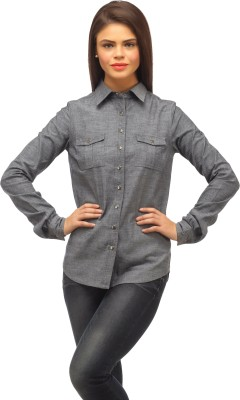 Ladybug Women's Solid Casual Grey Shirt