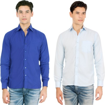 Atmosphere Men's Solid Formal Dark Blue, Light Blue Shirt