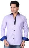 Brinley Men's Solid Casual Purple Shirt