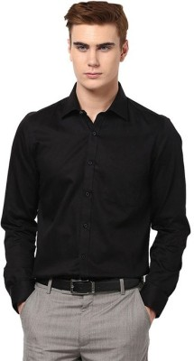Regalfit Men's Solid Formal Black Shirt