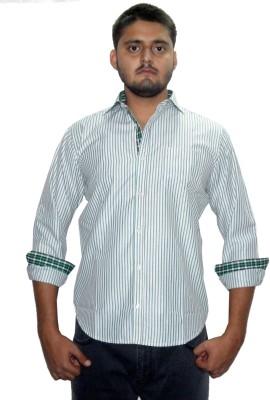 The GreeK Men's Striped Casual Light Green Shirt