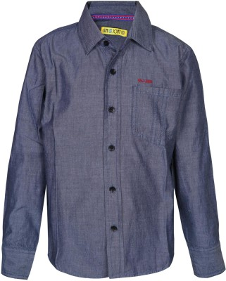 Gini & Jony Baby Boy's Solid Casual Blue Shirt