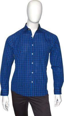 Cotton Natural Men's Checkered Casual Dark Blue Shirt