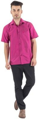 Warrior Men's Self Design Casual Pink Shirt