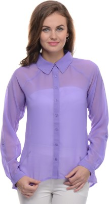 Moderno Women's Solid Casual Purple Shirt