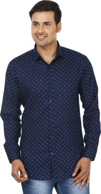 Edinwolf Men's Printed Casual Blue, White Shirt