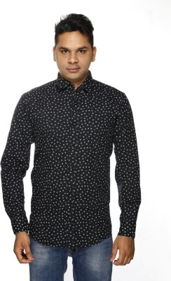 ALBI NYC Men's Printed Casual, Party Black Shirt