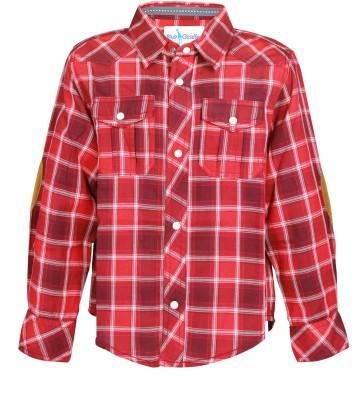 Blue Giraffe Boy's Self Design Casual Red Shirt