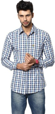 Saffire Men's Checkered Formal, Casual White Shirt