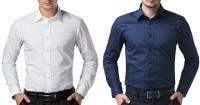 Zeppellin Formal Shirts (Men's) - Zeppellin Men's Solid Formal White, Blue Shirt(Pack of 2)