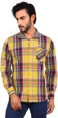 Monarch Men's Checkered Casual Gold Shirt