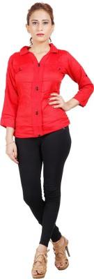 Sealion Women's Polka Print Casual Red Shirt