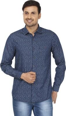 Wills Lifestyle Men's Printed Casual Dark Blue, White Shirt