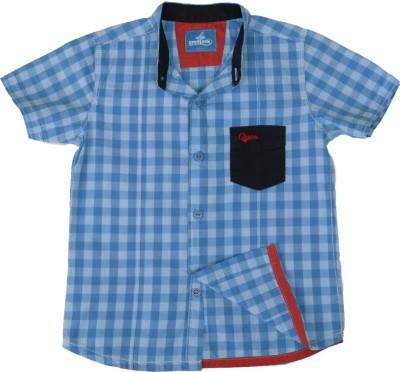Einstein Boy's Printed Casual Blue Shirt