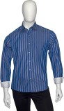 Cotton Natural Men's Striped Casual Blue...