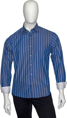 Cotton Natural Men's Striped Casual Blue, White Shirt