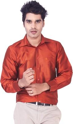 Mark Anderson Men's Solid Casual Orange Shirt